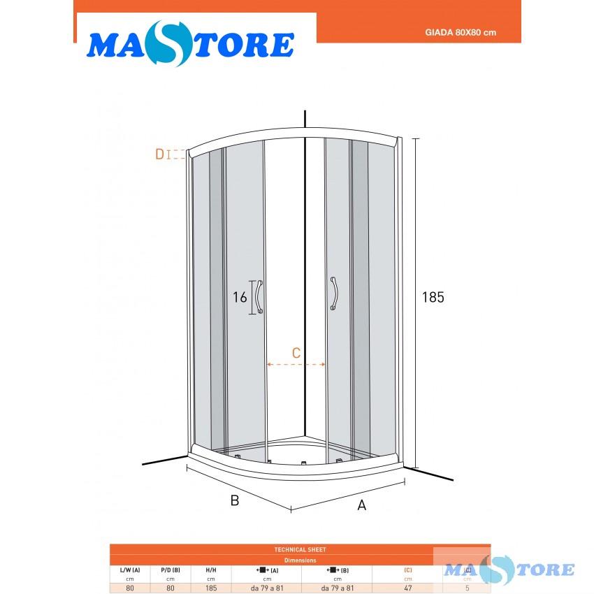 Misure Box Doccia.Box Doccia Semicircolare 80x80 E 90x90m Cristallo Opaco