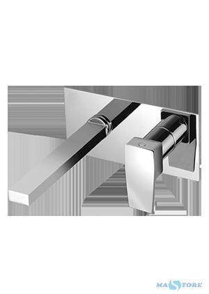 H2Q Miscelatore per lavabo ad incasso non ispezionabile, con bocca a parete, senza scarico