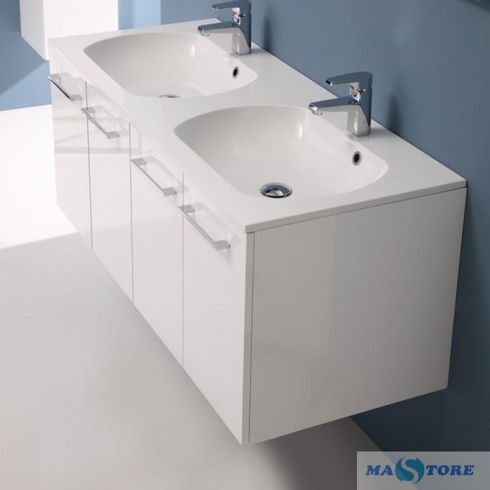 Mobile Bagno Lavabo Doppio.Mobile Bagno 120 Cm Con Quattro Ante E Doppio Lavabo Boston In Bianco Lucido Sp Retroilluminato