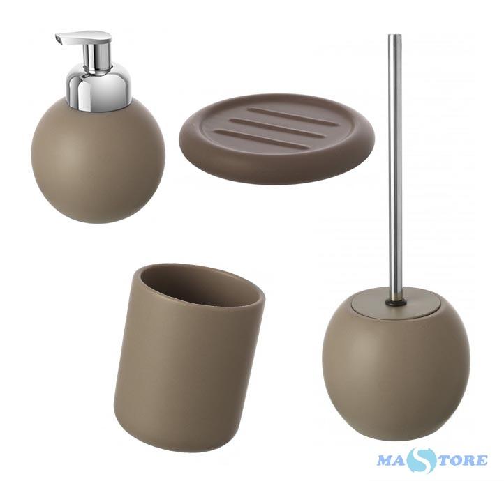 Set accessori bagno da appoggio linea Oslo tortora