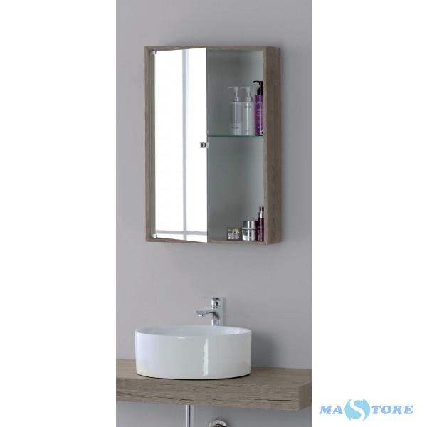 Specchio bagno contenitore castagno chiaro 45x70
