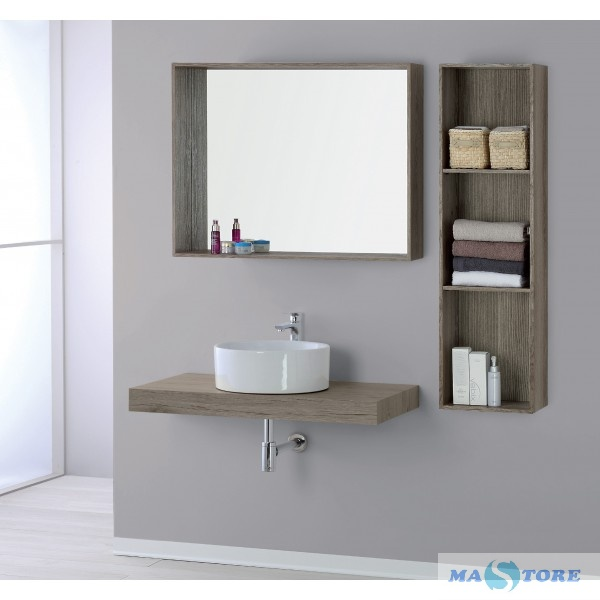 Mastore Arredo Bagno Vendita Online Specchio Con Cornice Da Appoggio In Legno Castagno Chiaro 90 Cm