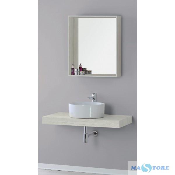 Specchio con cornice da appoggio in legno pino bianco 60 cm