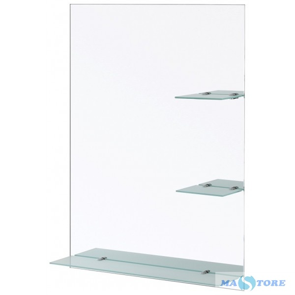 Vendita Mensole Vetro.Specchio Rettangolare Con Mensole In Vetro Satinato Spessore 6 Mm 60 X 80